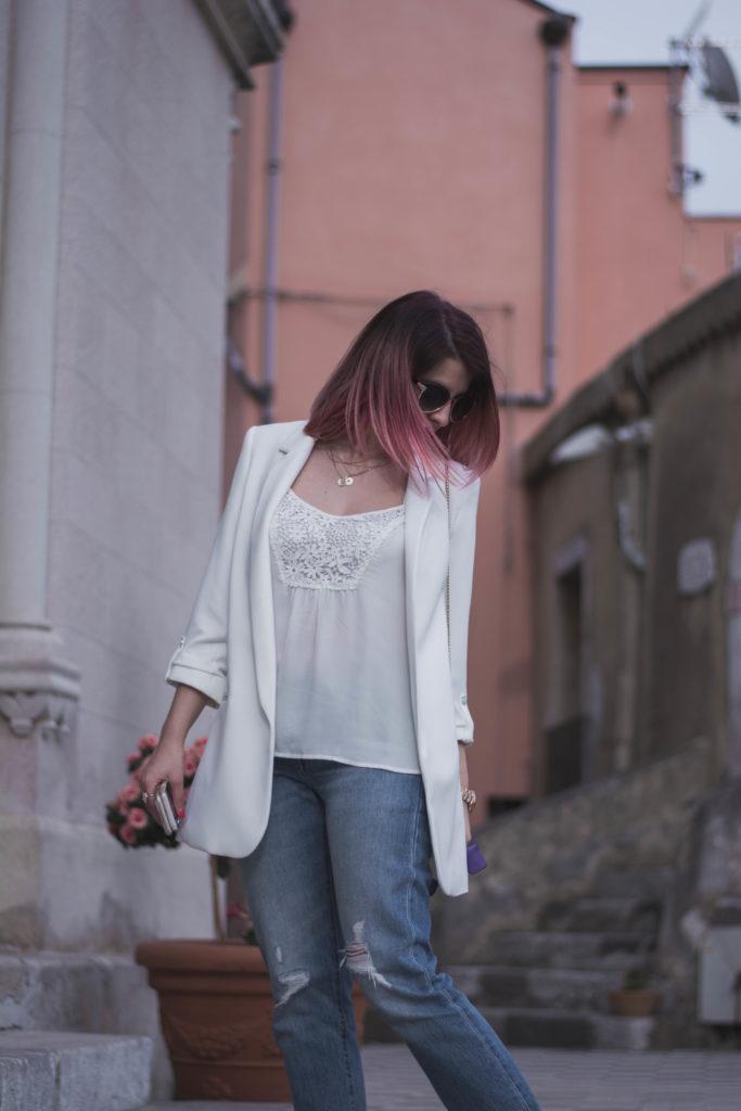 come indossare una giacca bianca